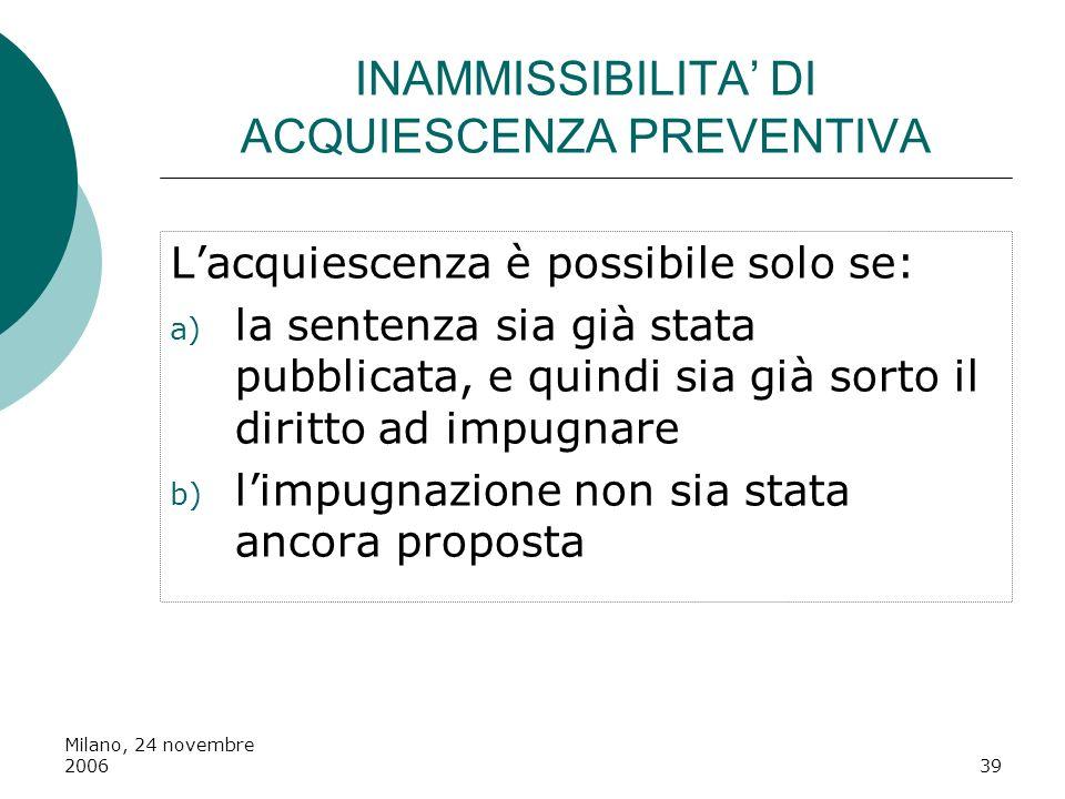 INAMMISSIBILITA' DI ACQUIESCENZA PREVENTIVA
