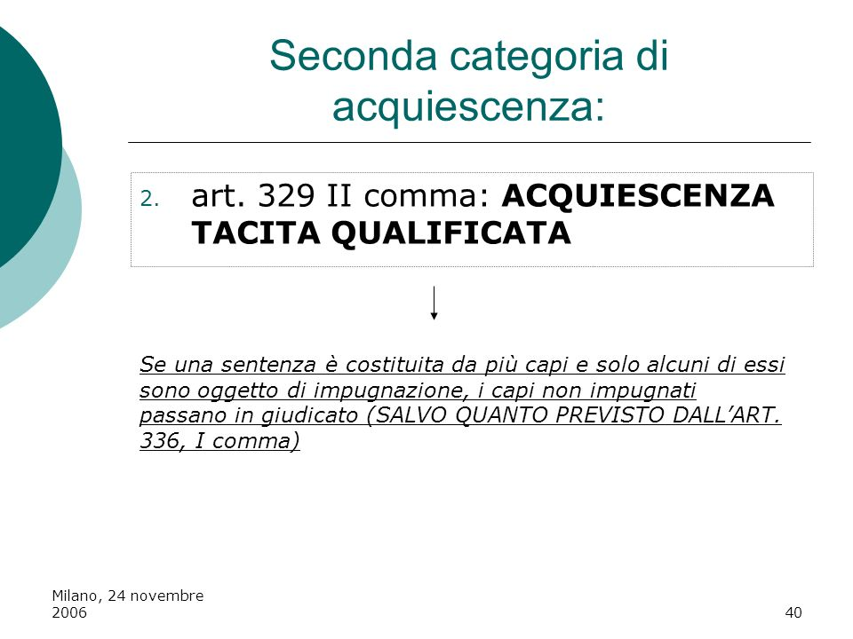 Seconda categoria di acquiescenza:
