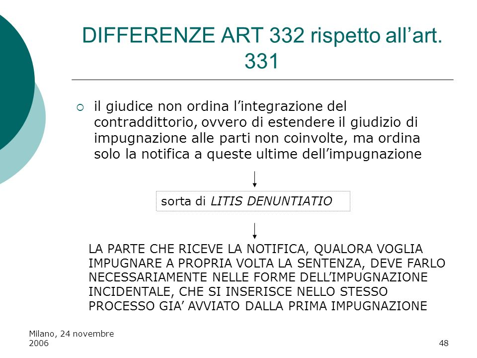 DIFFERENZE ART 332 rispetto all'art. 331