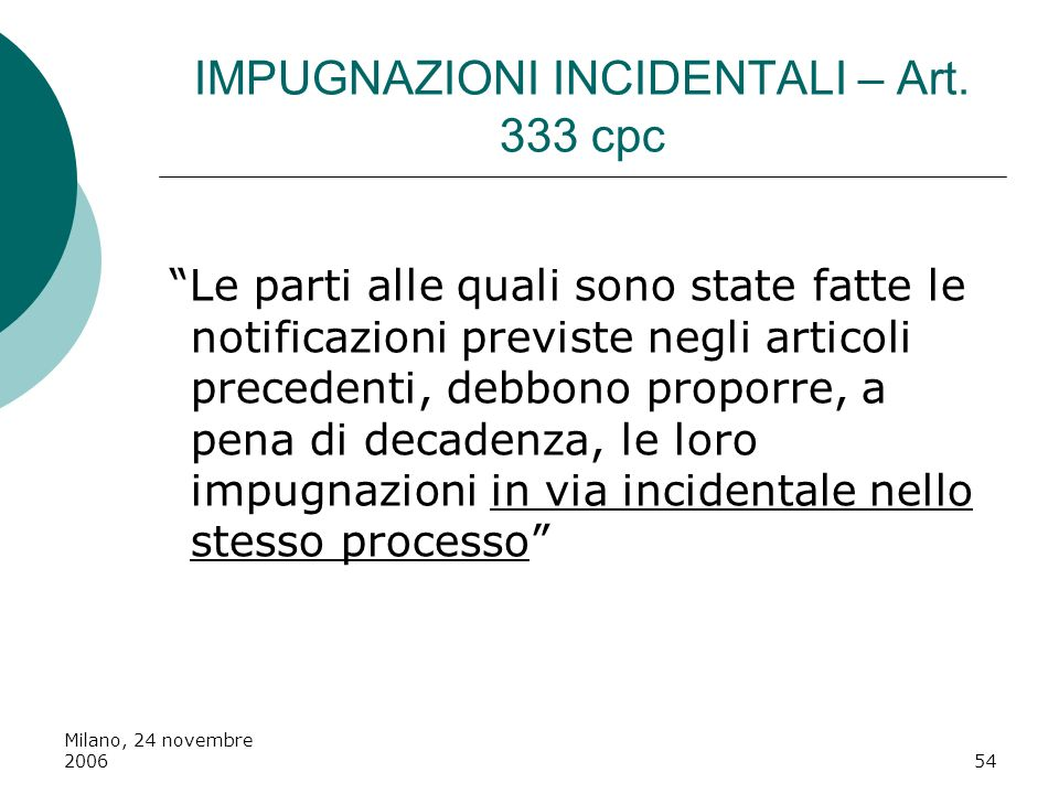 IMPUGNAZIONI INCIDENTALI – Art. 333 cpc