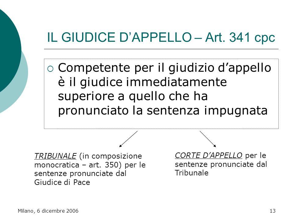 IL GIUDICE D'APPELLO – Art. 341 cpc