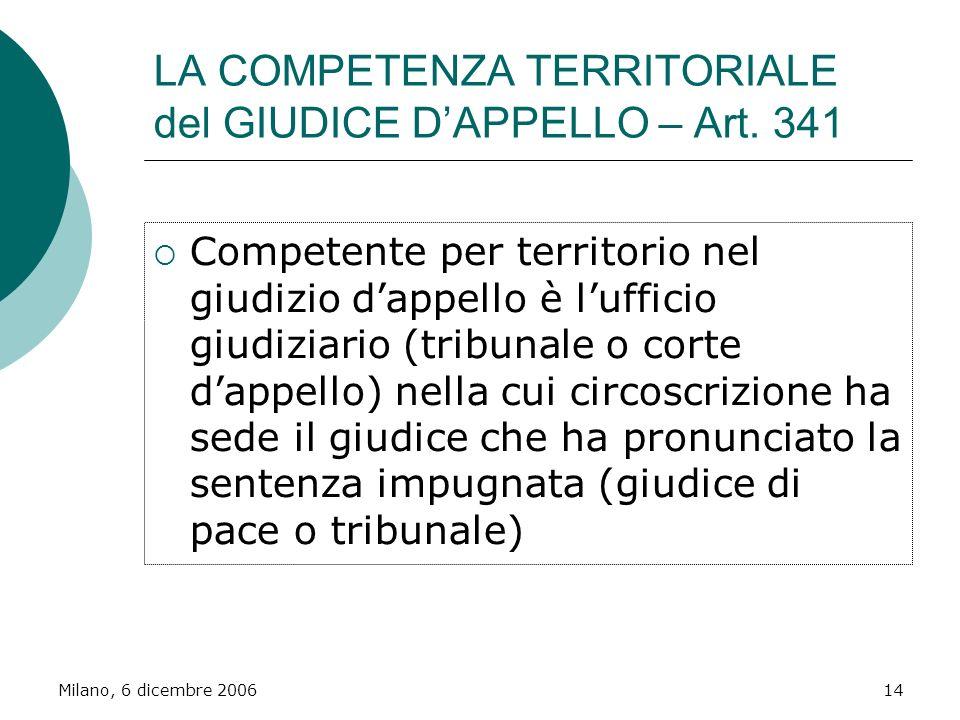 LA COMPETENZA TERRITORIALE del GIUDICE D'APPELLO – Art. 341