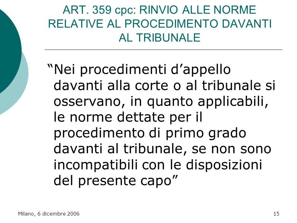 ART. 359 cpc: RINVIO ALLE NORME RELATIVE AL PROCEDIMENTO DAVANTI AL TRIBUNALE