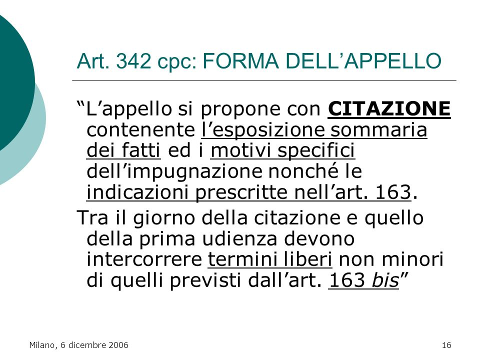 Art. 342 cpc: FORMA DELL'APPELLO