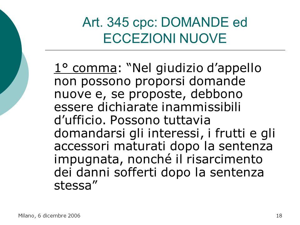Art. 345 cpc: DOMANDE ed ECCEZIONI NUOVE