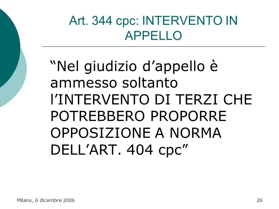 Art. 344 cpc: INTERVENTO IN APPELLO