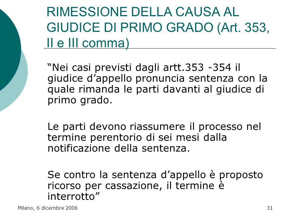 RIMESSIONE DELLA CAUSA AL GIUDICE DI PRIMO GRADO (Art