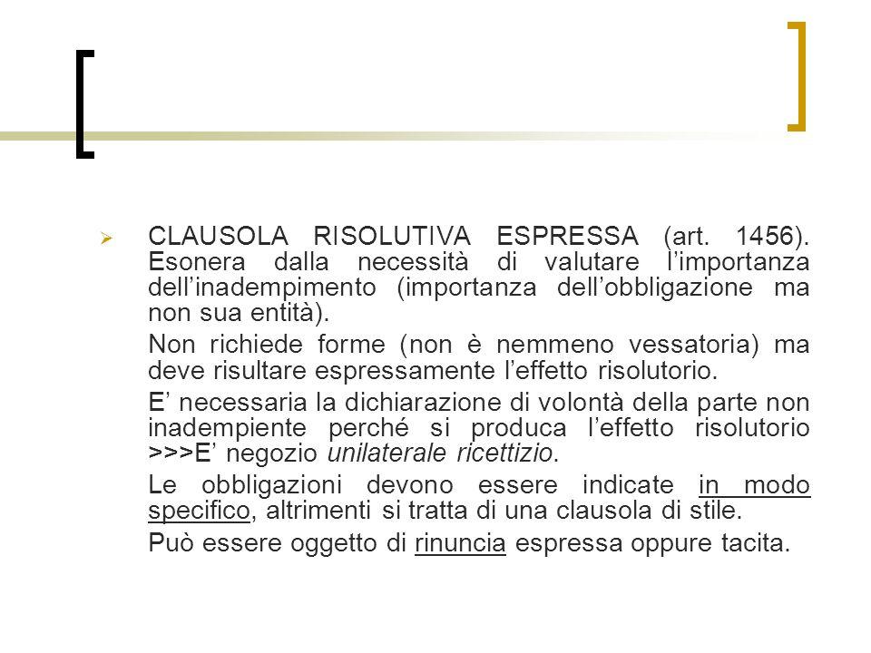 CLAUSOLA RISOLUTIVA ESPRESSA (art. 1456)