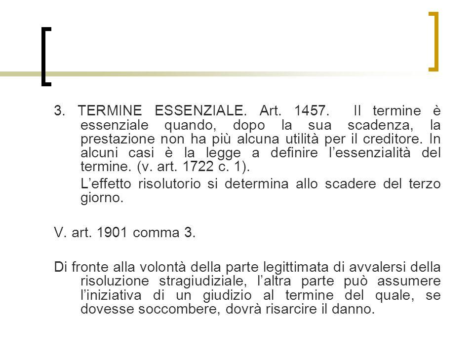 3. TERMINE ESSENZIALE. Art. 1457