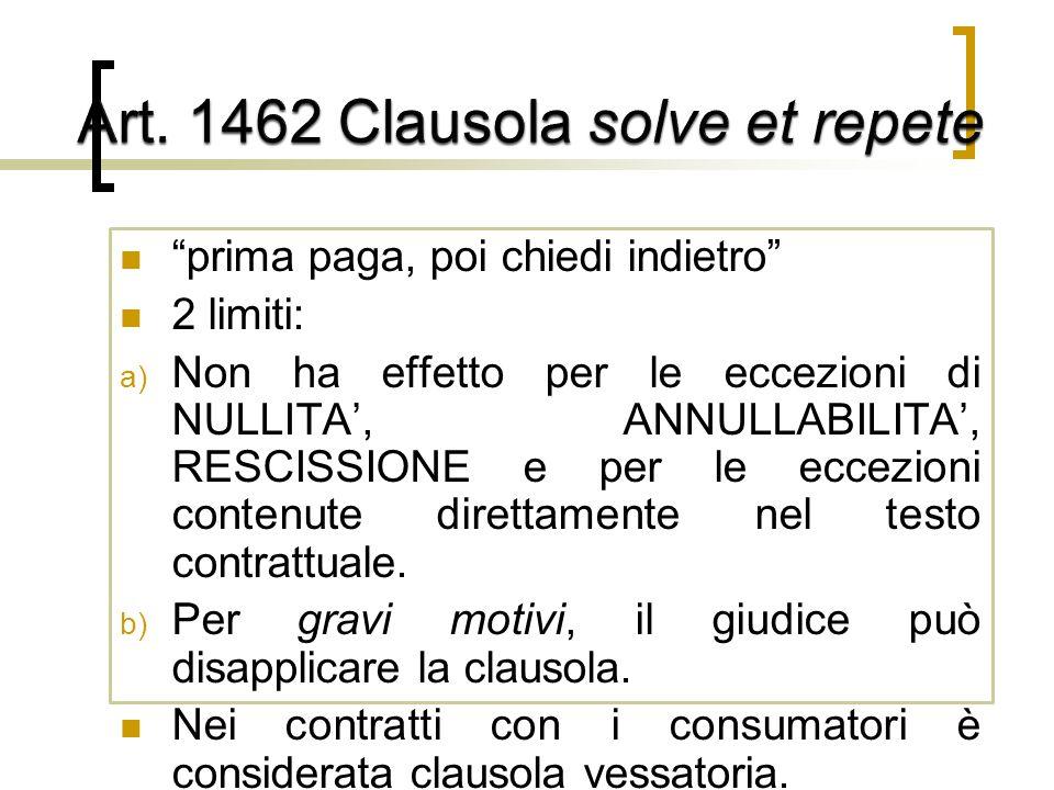 Art. 1462 Clausola solve et repete