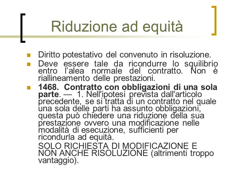 Riduzione ad equità Diritto potestativo del convenuto in risoluzione.