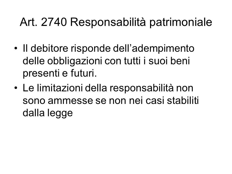 Art. 2740 Responsabilità patrimoniale