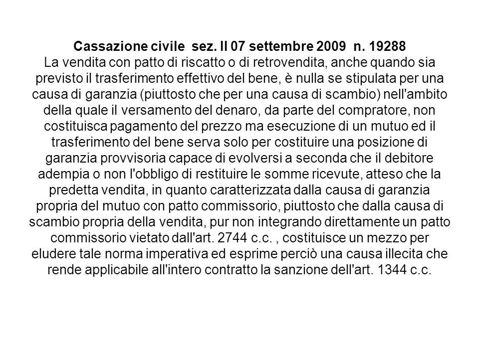 Cassazione civile sez. II 07 settembre 2009 n