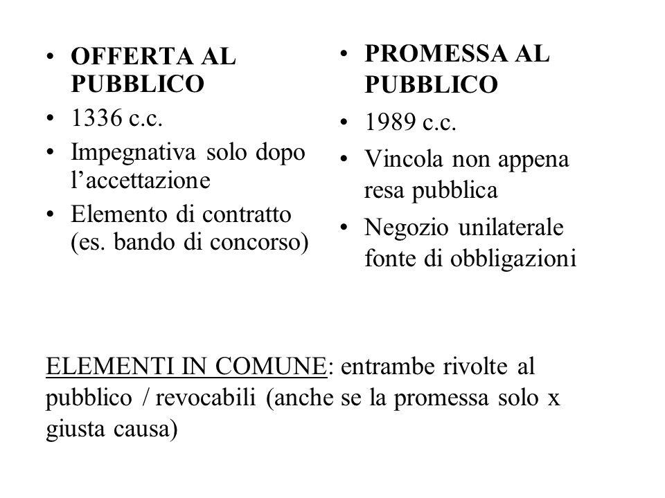PROMESSA AL PUBBLICO1989 c.c. Vincola non appena resa pubblica. Negozio unilaterale fonte di obbligazioni.