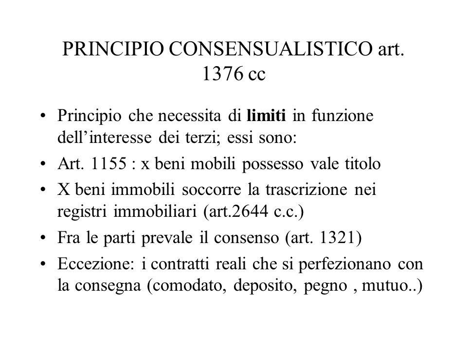 PRINCIPIO CONSENSUALISTICO art. 1376 cc
