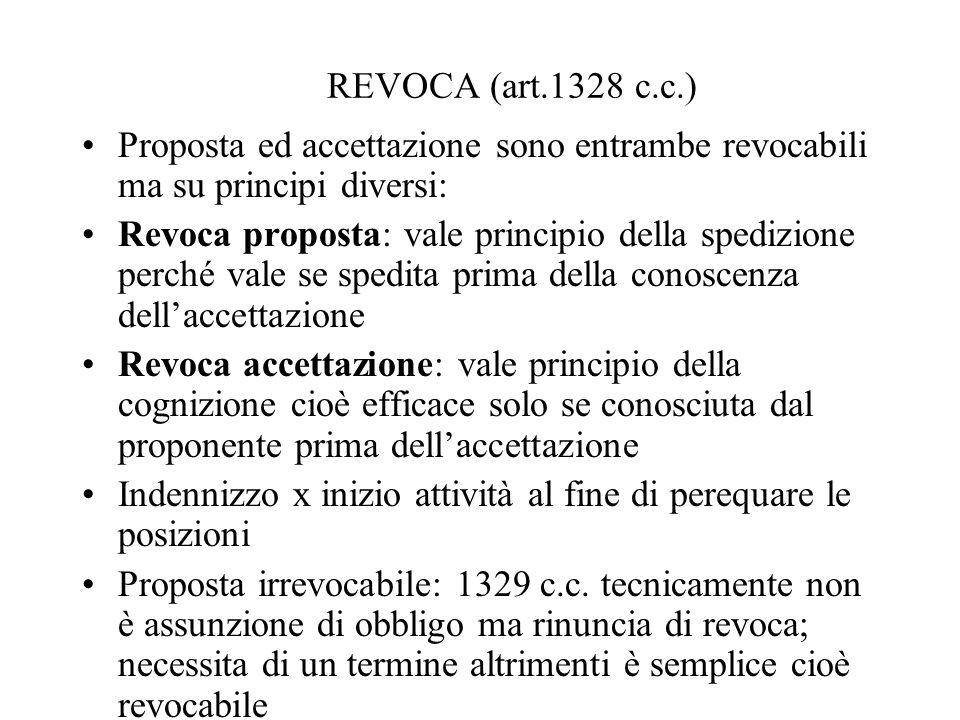 REVOCA (art.1328 c.c.)Proposta ed accettazione sono entrambe revocabili ma su principi diversi: