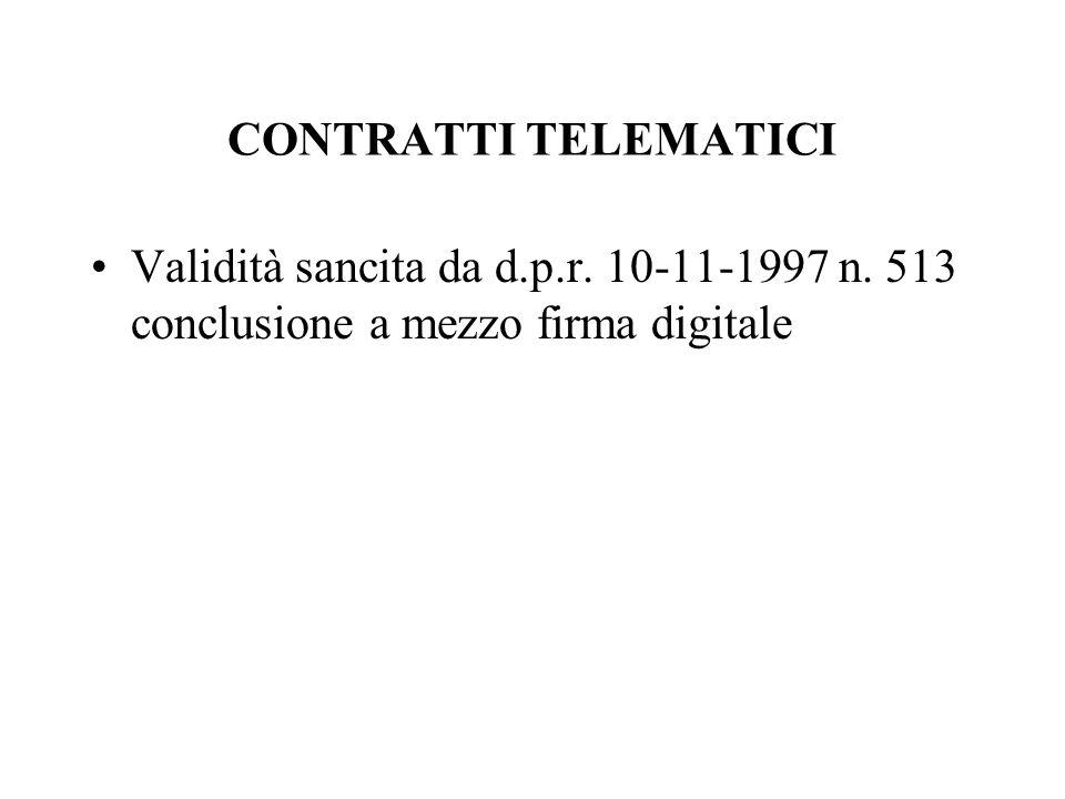 CONTRATTI TELEMATICIValidità sancita da d.p.r.10-11-1997 n.