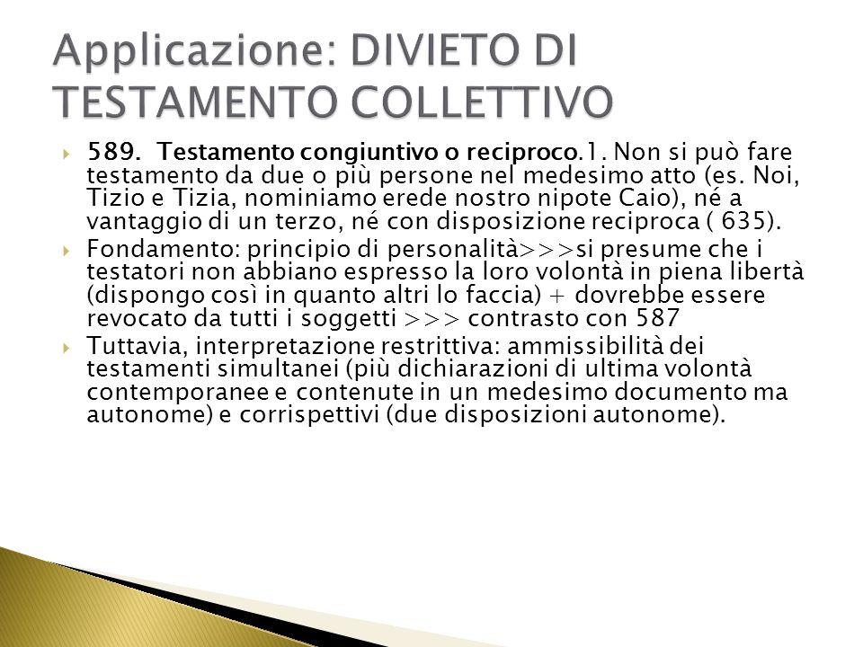 Applicazione: DIVIETO DI TESTAMENTO COLLETTIVO
