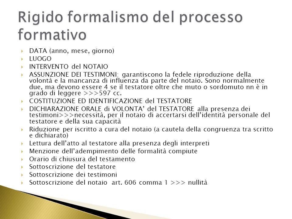 Rigido formalismo del processo formativo