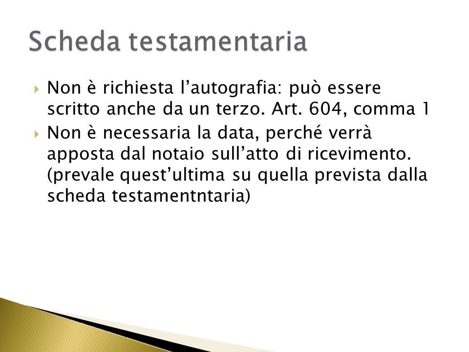 Scheda testamentaria Non è richiesta l'autografia: può essere scritto anche da un terzo. Art. 604, comma 1.