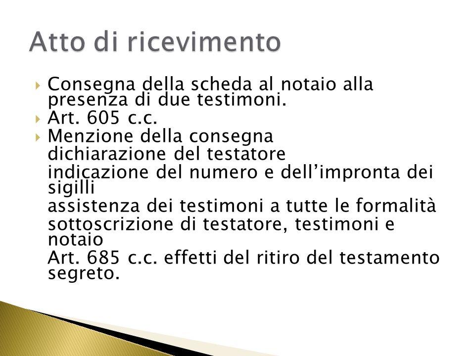 Atto di ricevimento Consegna della scheda al notaio alla presenza di due testimoni. Art. 605 c.c.
