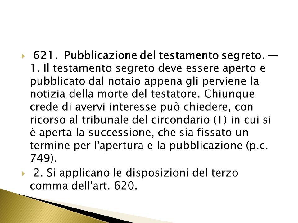 621. Pubblicazione del testamento segreto. — 1