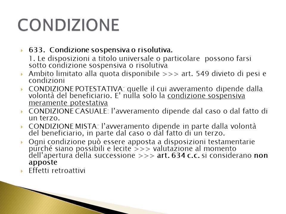 CONDIZIONE 633. Condizione sospensiva o risolutiva.