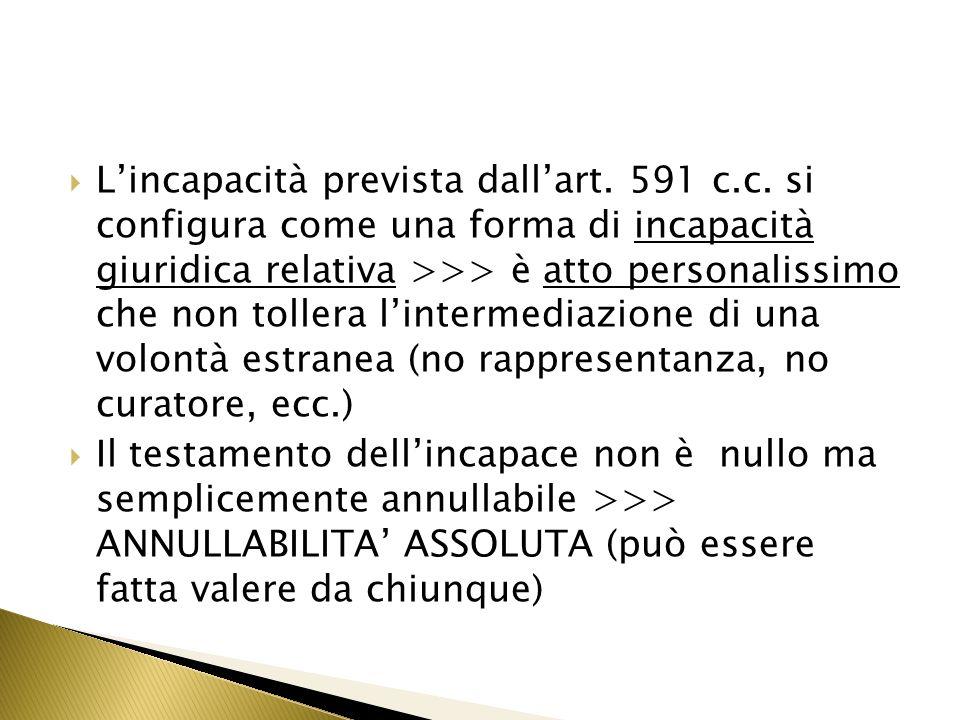 L'incapacità prevista dall'art. 591 c. c