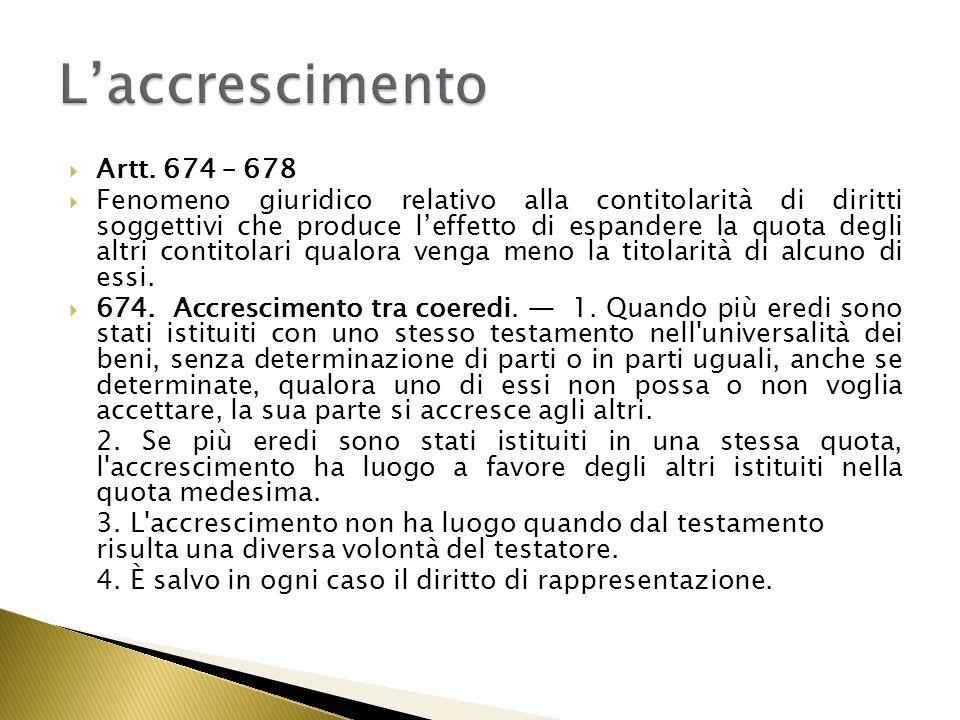 L'accrescimento Artt. 674 – 678