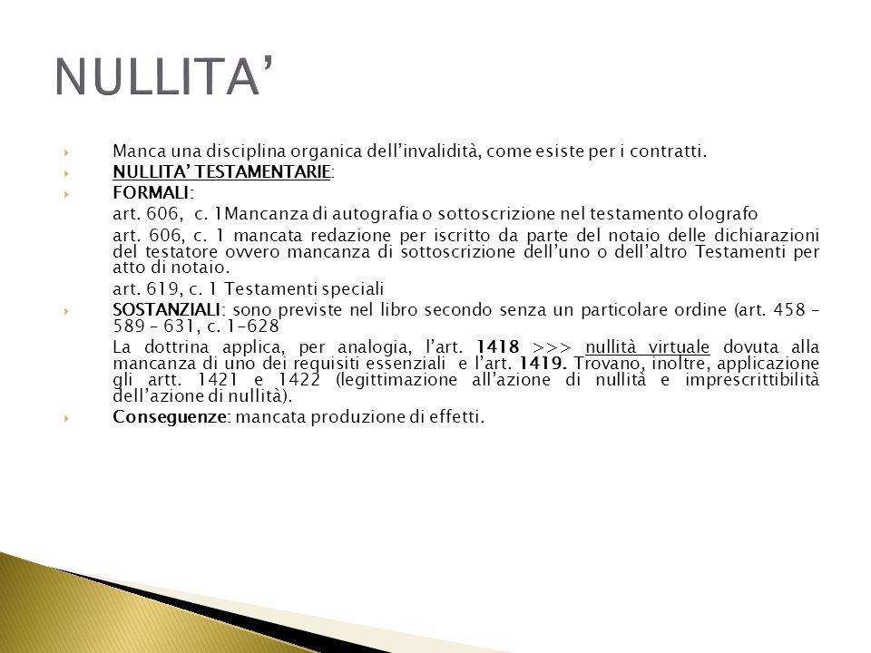 NULLITA' Manca una disciplina organica dell'invalidità, come esiste per i contratti. NULLITA' TESTAMENTARIE: