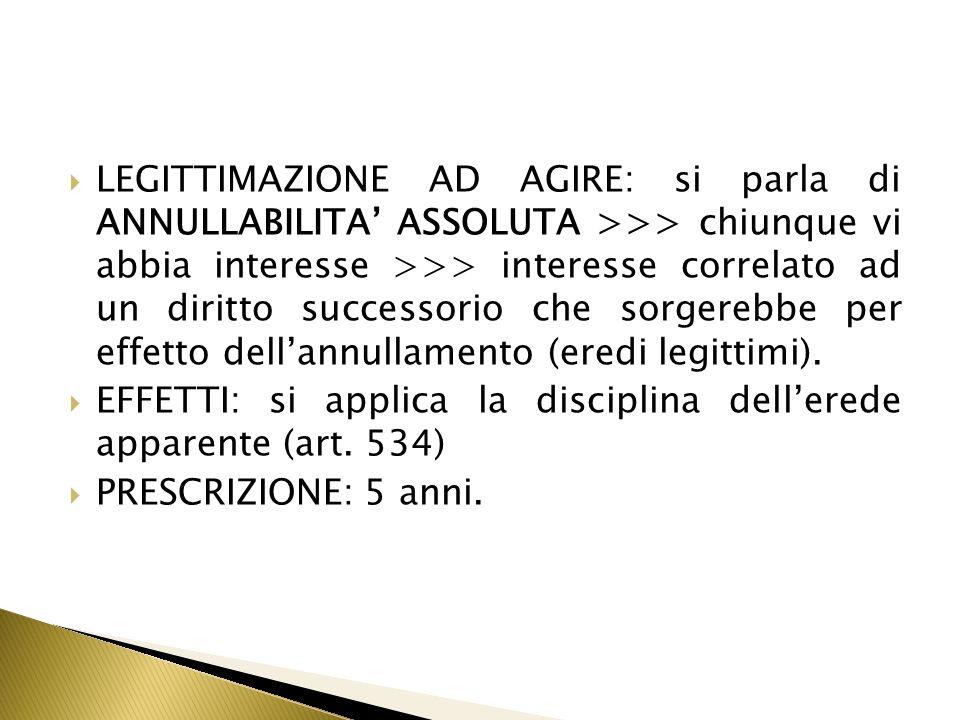 LEGITTIMAZIONE AD AGIRE: si parla di ANNULLABILITA' ASSOLUTA >>> chiunque vi abbia interesse >>> interesse correlato ad un diritto successorio che sorgerebbe per effetto dell'annullamento (eredi legittimi).