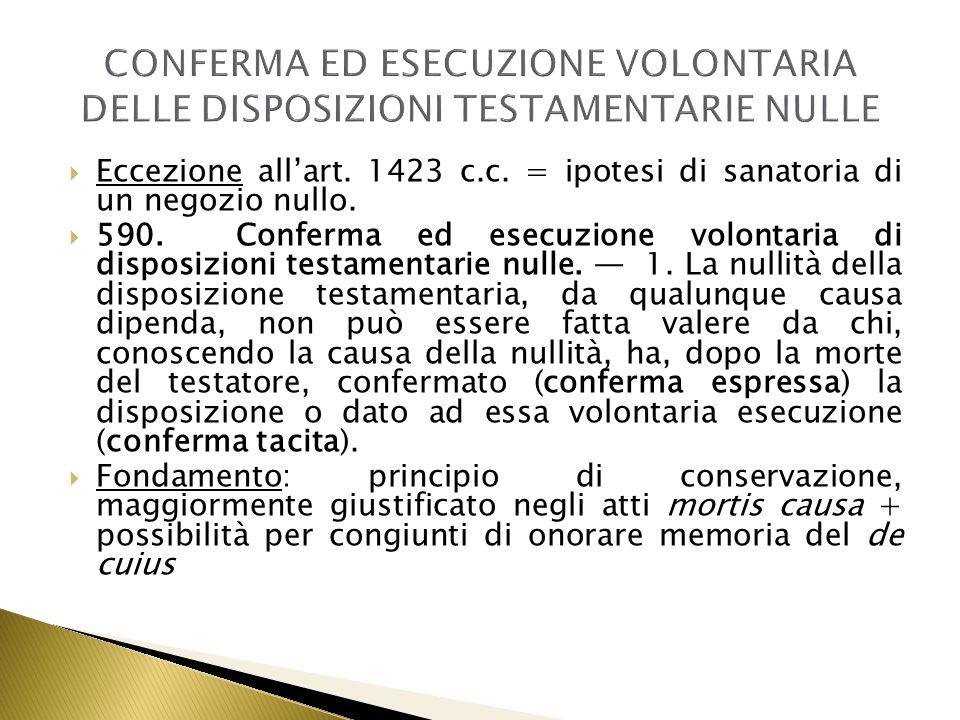 CONFERMA ED ESECUZIONE VOLONTARIA DELLE DISPOSIZIONI TESTAMENTARIE NULLE