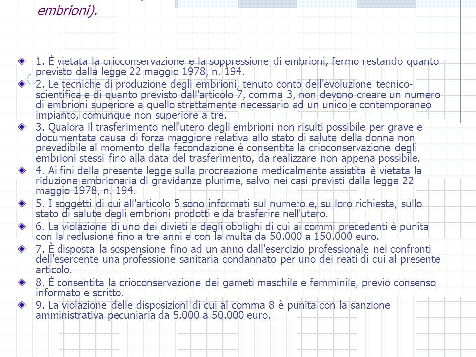 Art. 14 l.40/04(Limiti all applicazione delle tecniche sugli embrioni).