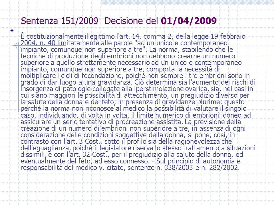 Sentenza 151/2009 Decisione del 01/04/2009