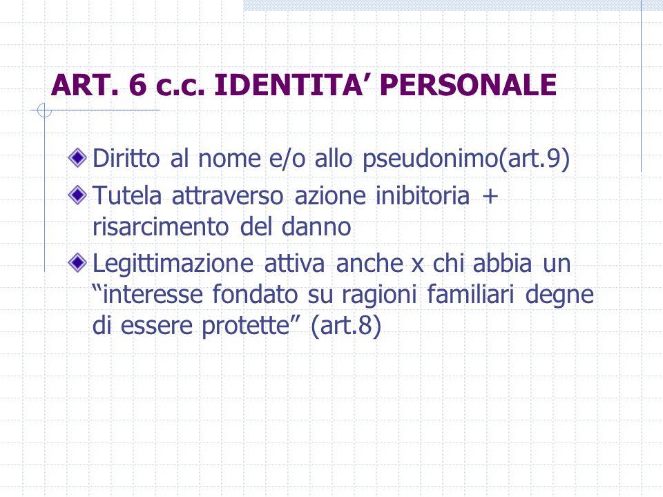 ART. 6 c.c. IDENTITA' PERSONALE
