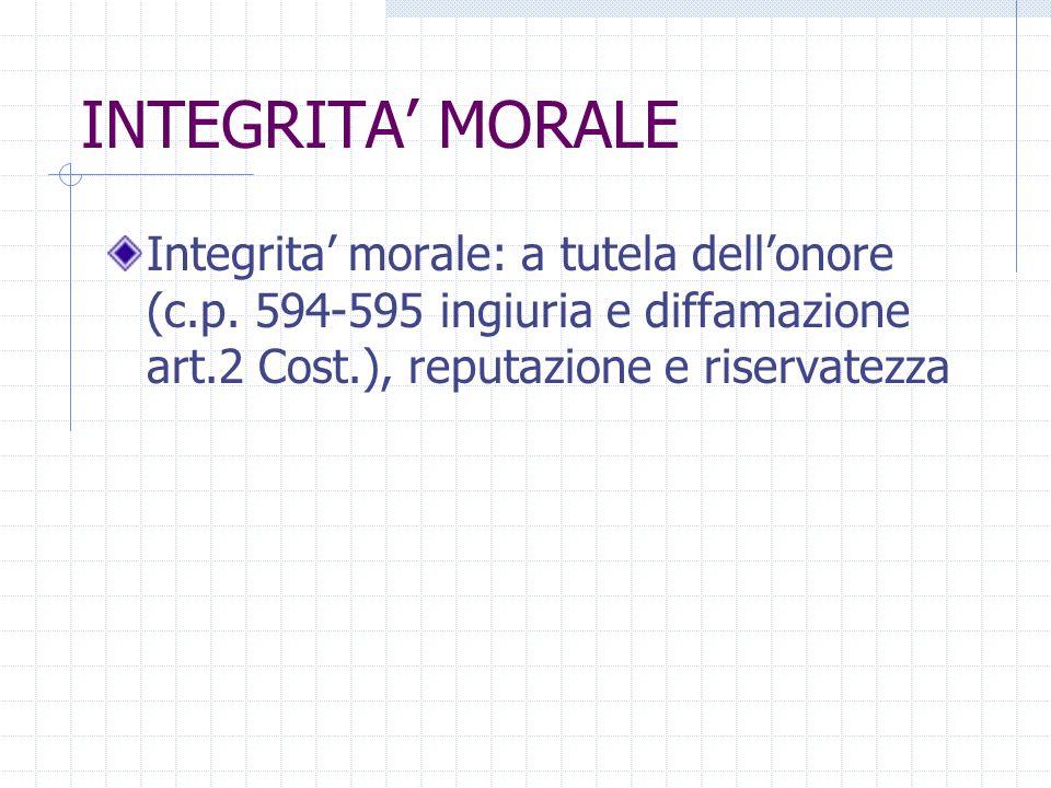 INTEGRITA' MORALE Integrita' morale: a tutela dell'onore (c.p.