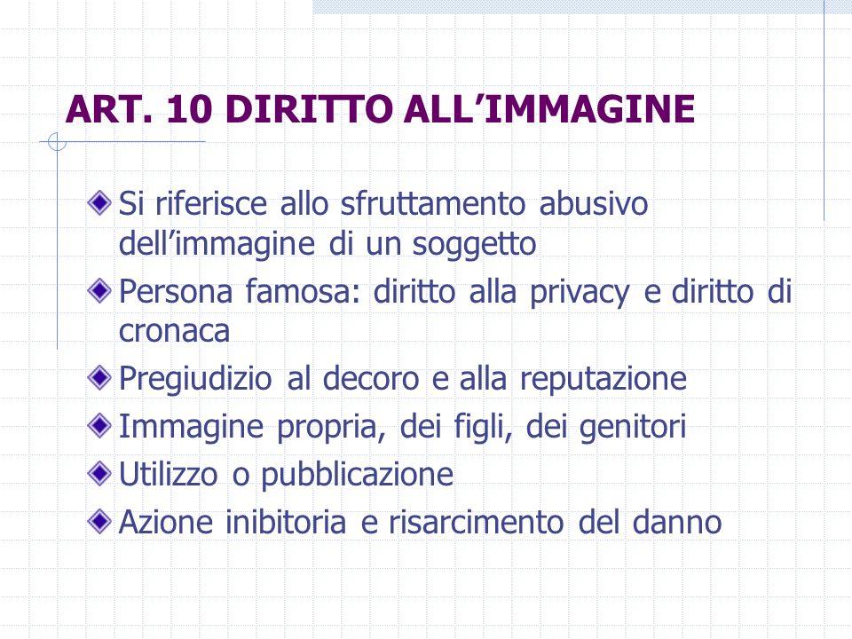 ART. 10 DIRITTO ALL'IMMAGINE
