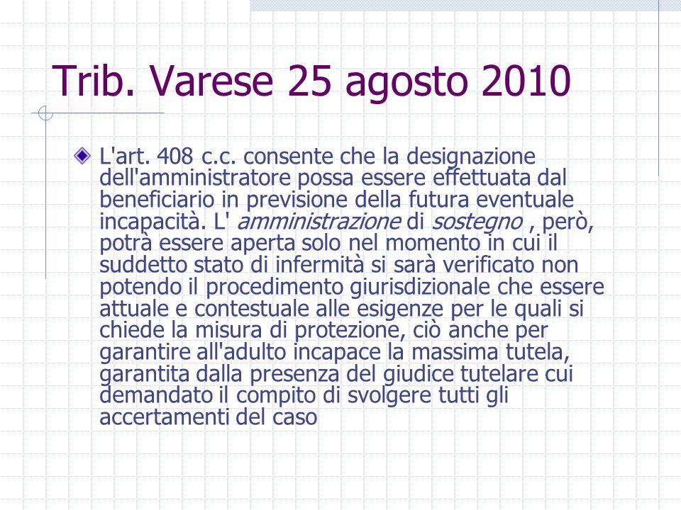 Trib. Varese 25 agosto 2010