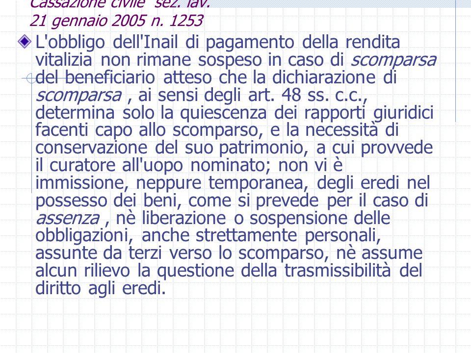 Cassazione civile sez. lav. 21 gennaio 2005 n. 1253