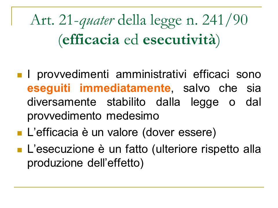 Art. 21-quater della legge n. 241/90 (efficacia ed esecutività)