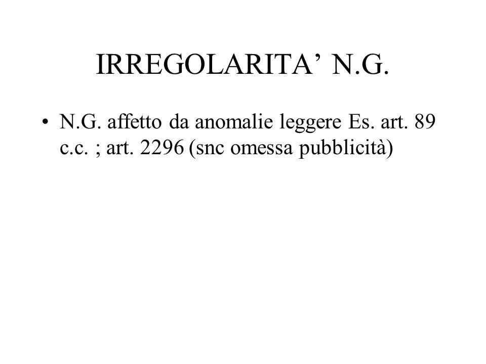 IRREGOLARITA' N.G. N.G. affetto da anomalie leggere Es.
