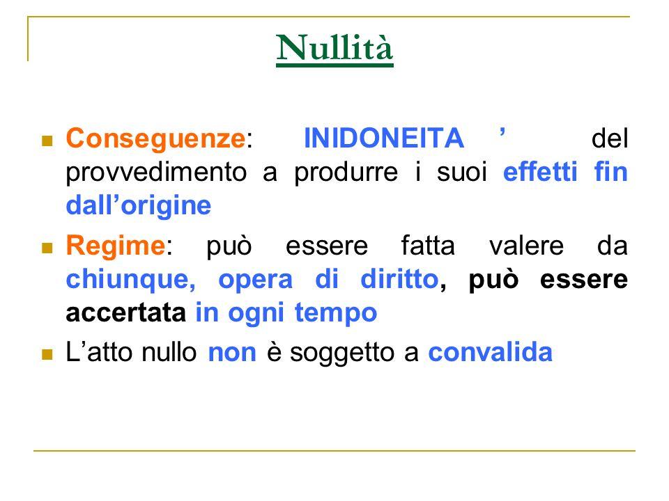 NullitàConseguenze: INIDONEITA' del provvedimento a produrre i suoi effetti fin dall'origine.