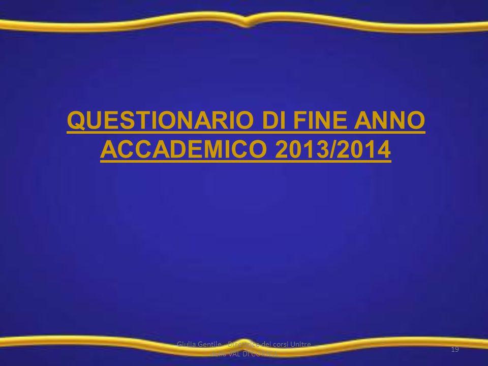 QUESTIONARIO DI FINE ANNO ACCADEMICO 2013/2014