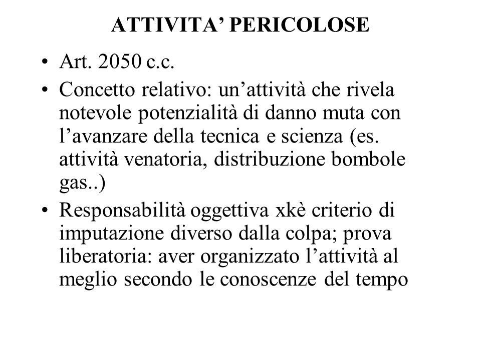 ATTIVITA' PERICOLOSE Art. 2050 c.c.
