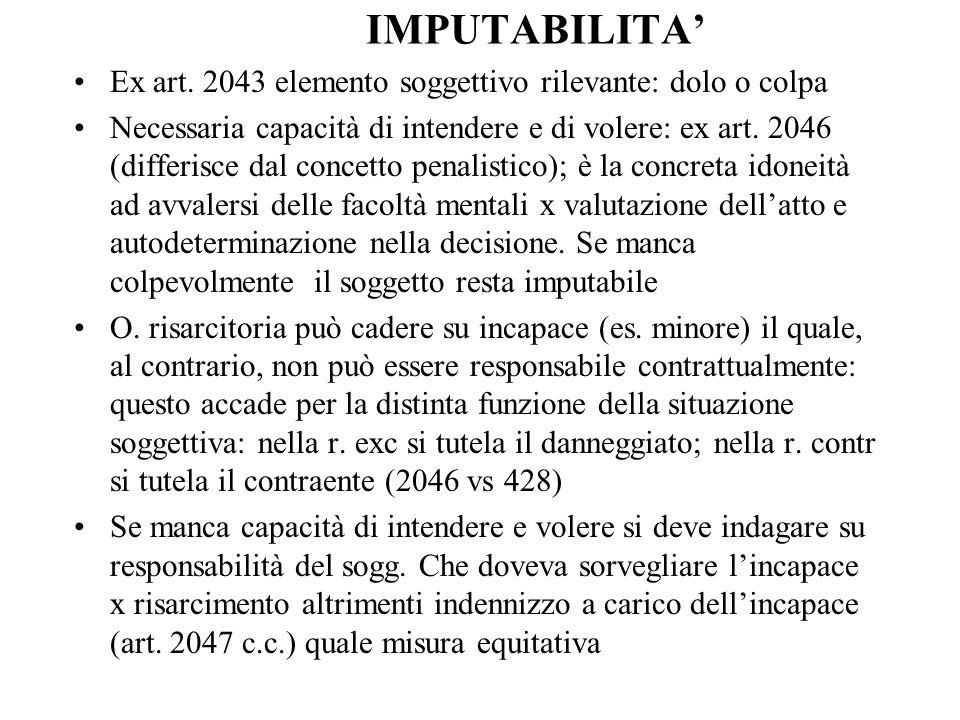 IMPUTABILITA' Ex art. 2043 elemento soggettivo rilevante: dolo o colpa