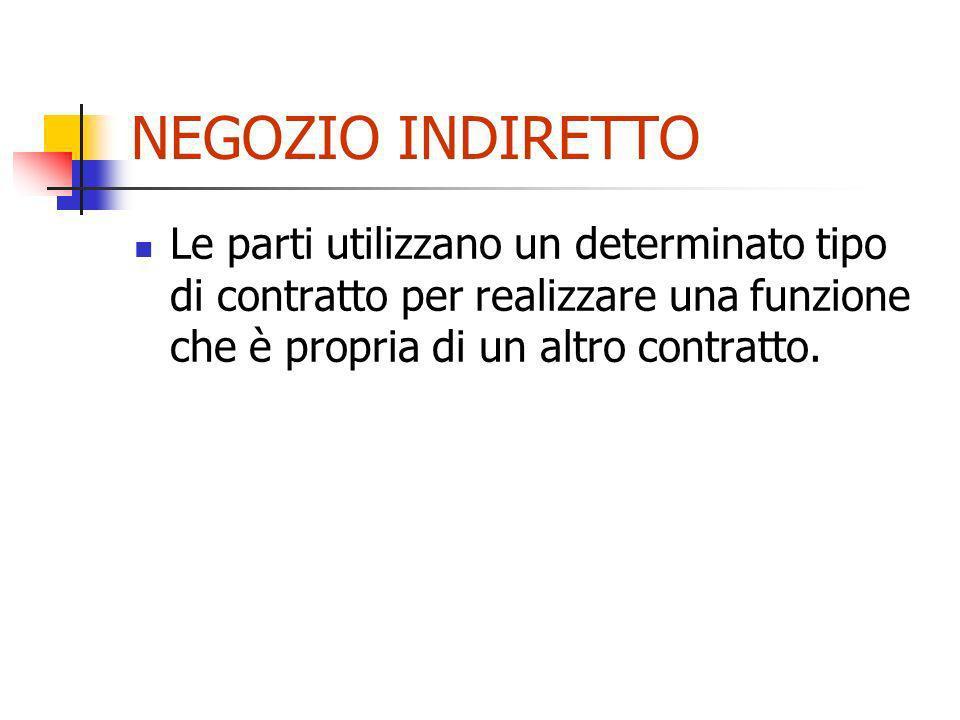 NEGOZIO INDIRETTOLe parti utilizzano un determinato tipo di contratto per realizzare una funzione che è propria di un altro contratto.