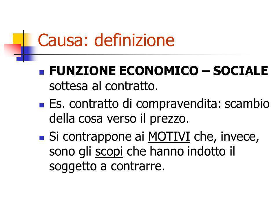 Causa: definizione FUNZIONE ECONOMICO – SOCIALE sottesa al contratto.
