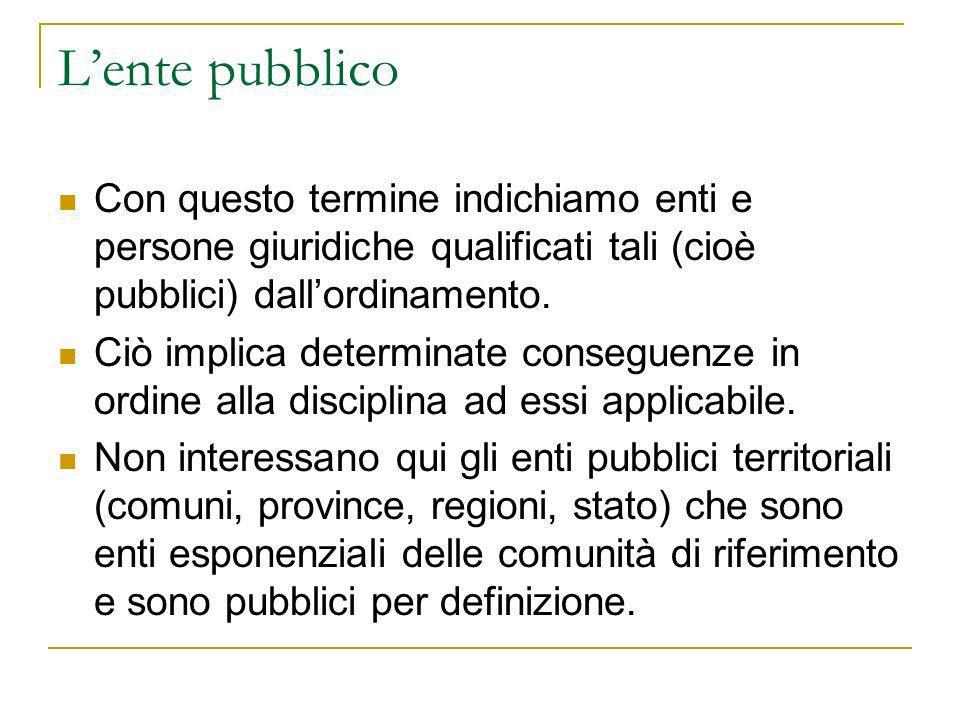 L'ente pubblico Con questo termine indichiamo enti e persone giuridiche qualificati tali (cioè pubblici) dall'ordinamento.