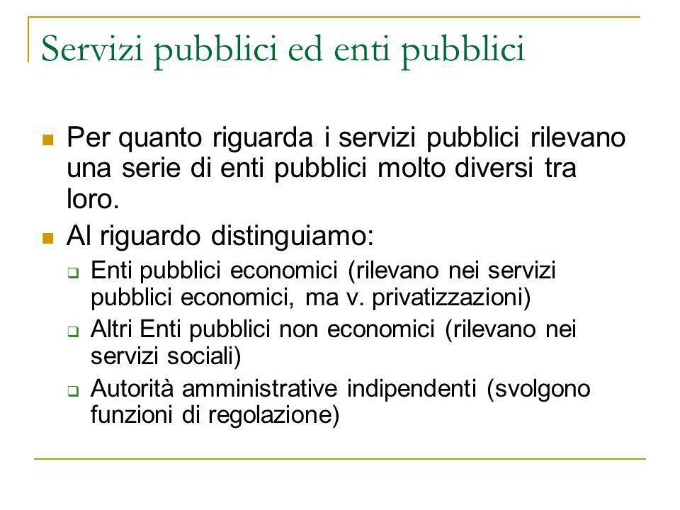 Servizi pubblici ed enti pubblici