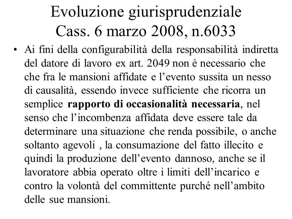 Evoluzione giurisprudenziale Cass. 6 marzo 2008, n.6033